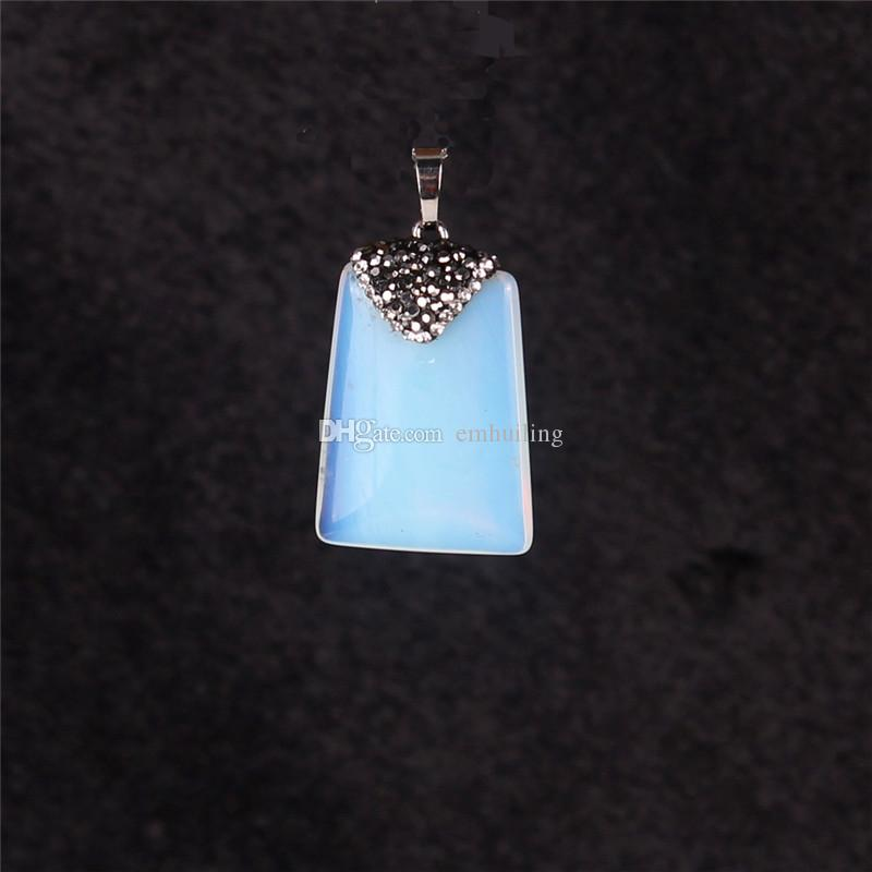 Natural Square Rectangle Stone Pendant For Jewelry Making Selectable: Turquoise Onyx Opal Moonstone Pietersite Beads Jasper with Zircon Pave