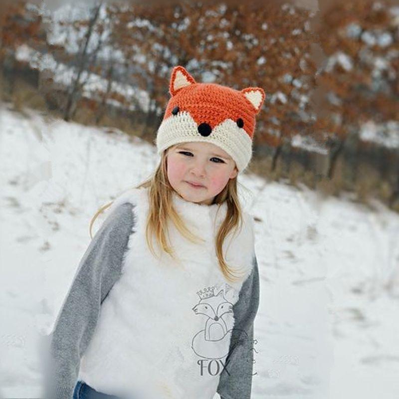 2016 New Fashion Baby Orange Handmade Fox Cat Winter Beanie Kids Boy Girl Warm Hat Knitted Cap free shipping in stock