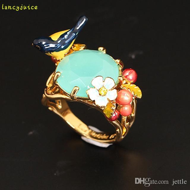 Роскошное Кольцо Цветка Самоцвета Птицы Для Качества Золота Меди Эмали Размера 7 Женщин Хорошего