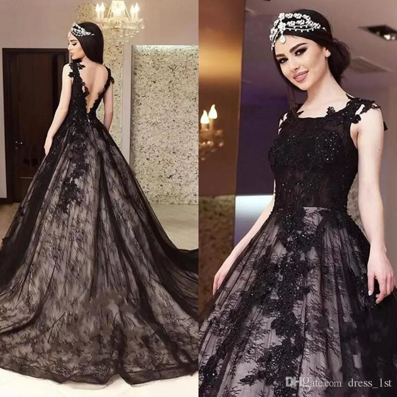 Najnowsze 2017 Vintage Black Lace Suknie Ślubne Eleganckie Zroszony Koronki Appliqued Backless Długie Suknie Ślubne Gothic Custom Made EN10915