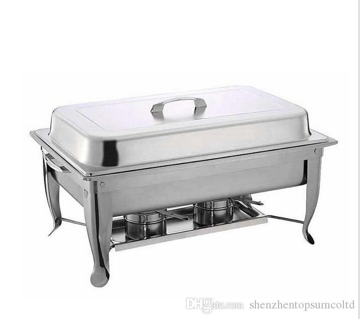 Envío libre de la venta al por mayor 4 Set de acero inoxidable plegable Buffet Juego de plato de frotamiento