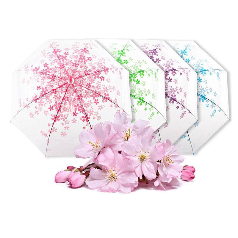 Senhora criativa do guarda-chuva, guarda-chuva automático do céu, azul brilhante, flores de cereja frescas pequenas, dobrando por atacado