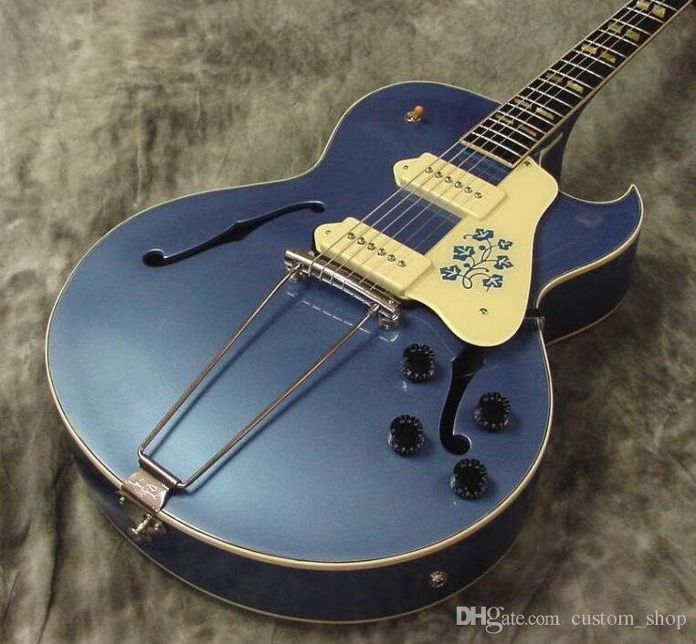Scotty Moore sur mesure ES 295 Metallic Blue Guitare électrique P90 ramassage Trapeze cordier de Split Parallelogram Inlay Fleurs historique Pickguard