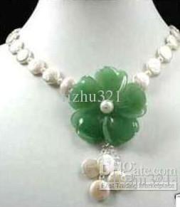 Schmuck grüne Jade Blume Münze Perlenkette