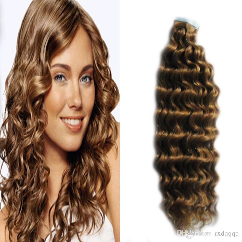 Ruban Brun Clair En Extensions De Cheveux Humains 40 pcs 100g 100% Vierge Remy Naturel Cheveux Humains vague profonde Bande Adhésive Dans Les Cheveux Humains
