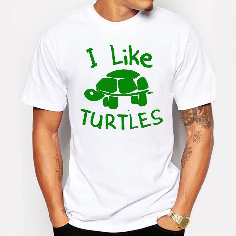 Abbigliamento uomo T-shirt uomo Mi piace Tartaruga stampata t-shirt divertente hip pop cotone manica corta T-shirt Hipster homme