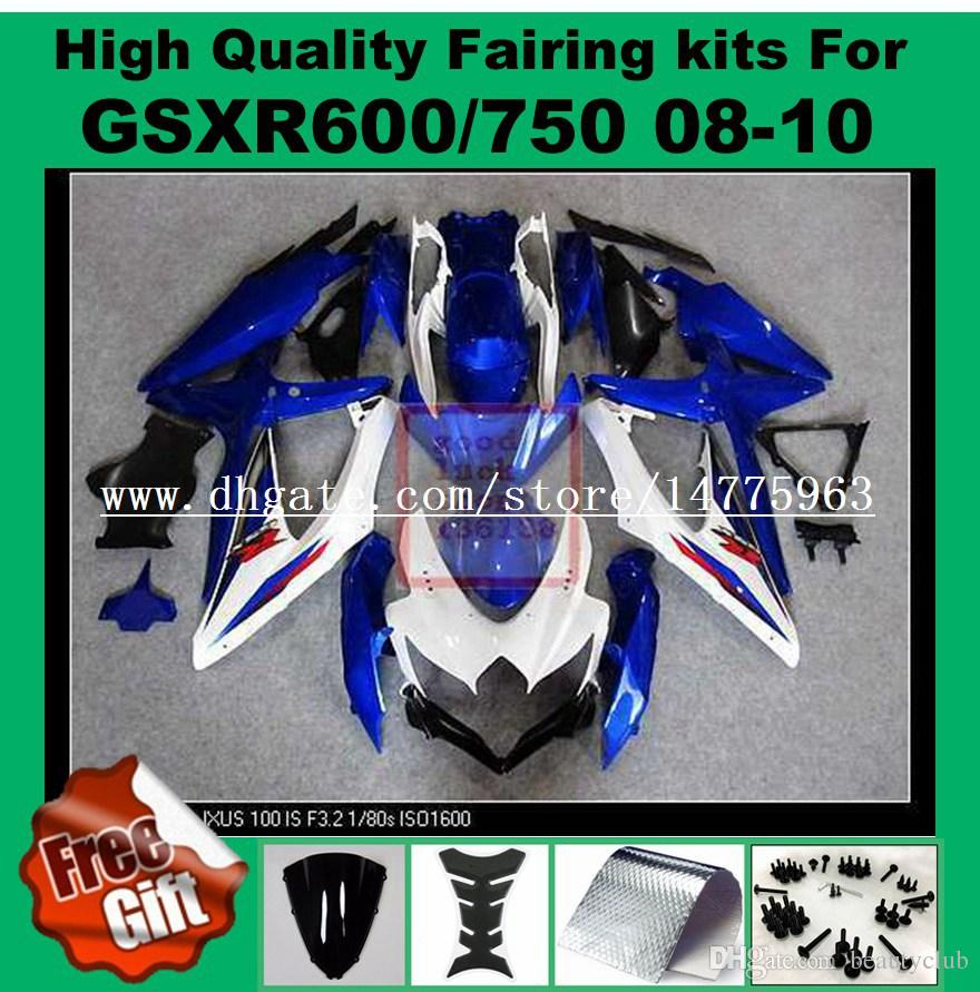 Carimbos de injecção para 2008 2009 SUZUKI K8 K9 GSXR600 GSXR750 2008 2009 2010 GSX-R600 GSX-R750 08 09 10 parafusos de pára-brisas de carenagem branca azul