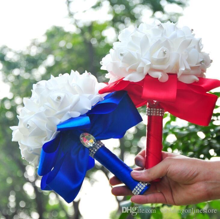 우아한 장미 인공 신부 꽃 신부 꽃다발 결혼식 꽃다발 크리스탈 로얄 블루 실크 리본 새로운 여성 결혼식 꽃