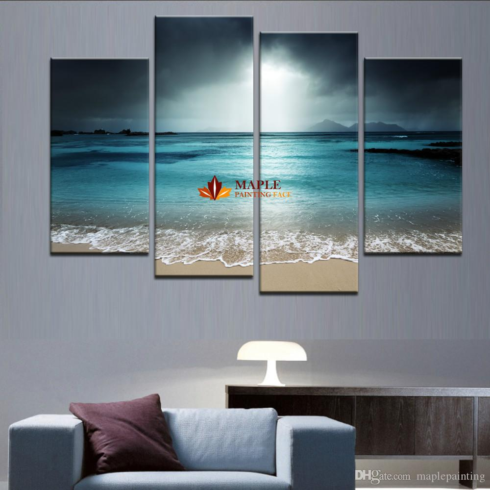 4 Panel Sea Scenery With Beach Modern Abstract Wall Art Picture Home Decoration Picture Paint on Canvas Prints Painting Artwork