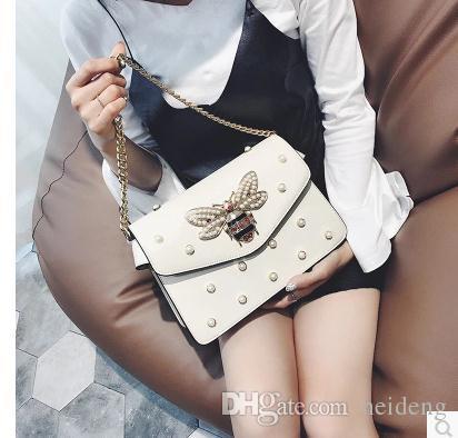 Fábrica Marca Cadena Encantadora Bolso de Rhinestone Bolso elegante Mujer Primavera Hombro Mujer Cuero Fresco Bolsa Decorativa Pearl Pequeño Pear Ckmni