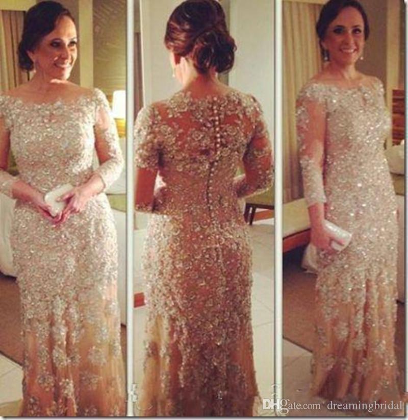 Champagne Long Mutter der Braut Kleider 2017 Scoop Neck Peals Abendkleider Applique Mutter der Abendkleider für Party Kleider