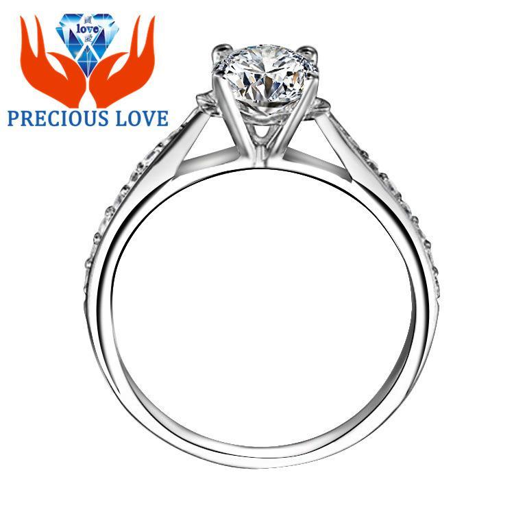 100% 925 Sterling Silver Clássico Quatro Garra SONA / NSCD 5ª Geração Simulação de Moçambique Anel de Diamante Anel de Casamento Da Princesa