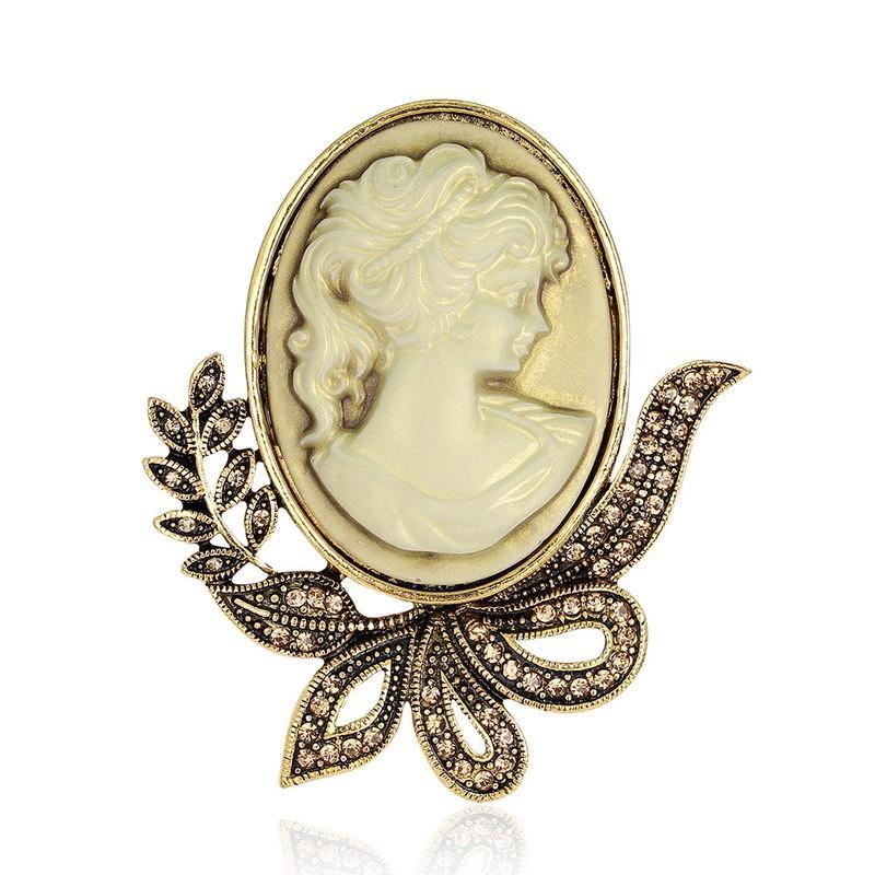 Najnowsza broszka szpilki do kobiecej mody Rhinestone szpilki i broszki dla kobiet Vintage Vintage Cameo Broszka na kołnierzu Broche