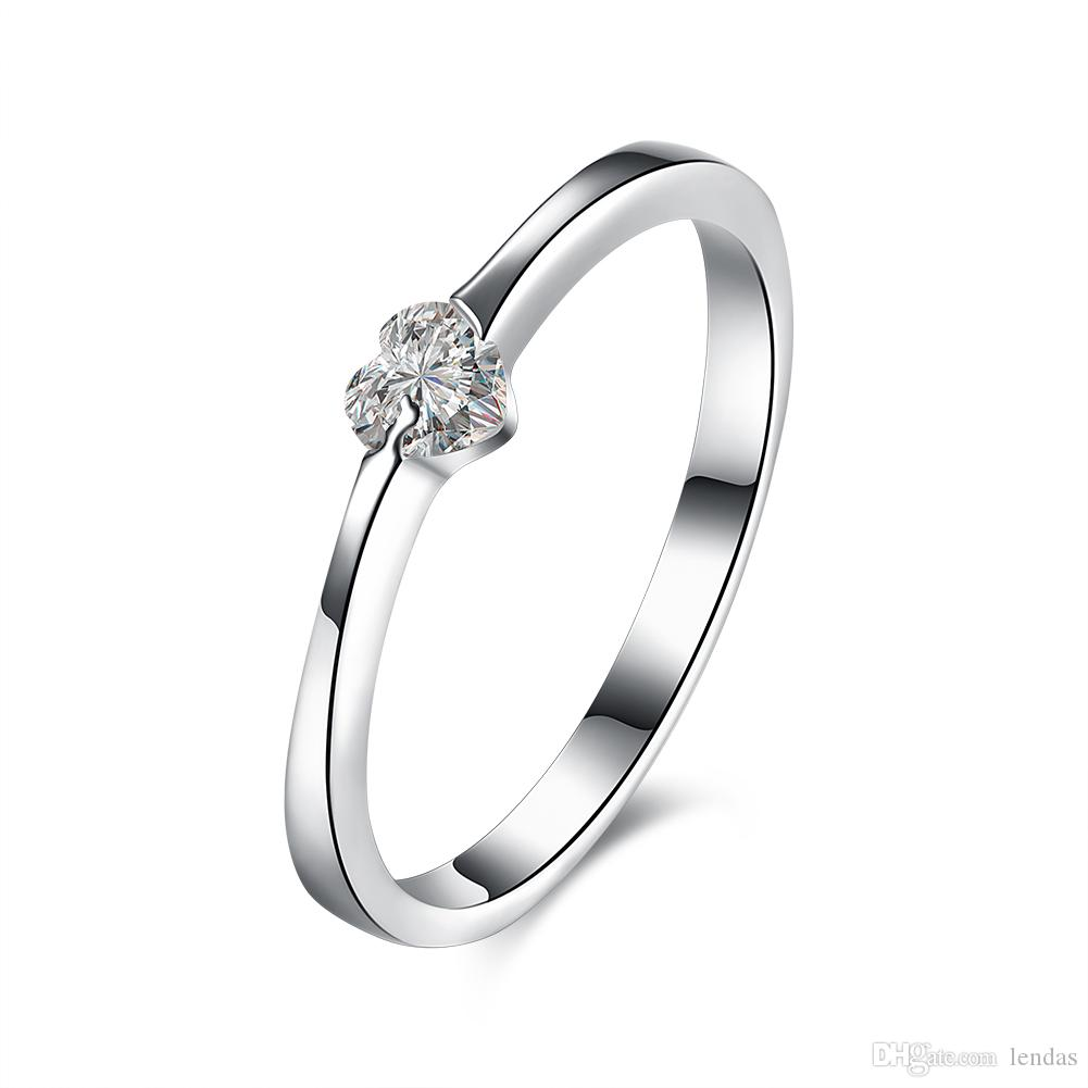 Ladies Charming Real Sterling Silver Rings Love Heart Silver Jewelry For  Women Zircon Fashion Jewellery Gifts