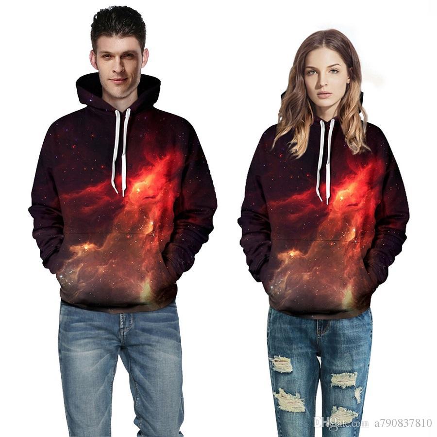 Couples Hoodies pulls pour hommes galaxie rouge sweat-shirts imprimés 2017 printemps automne mode veste à capuche sweat-shirt décontracté pour hommes / femmes