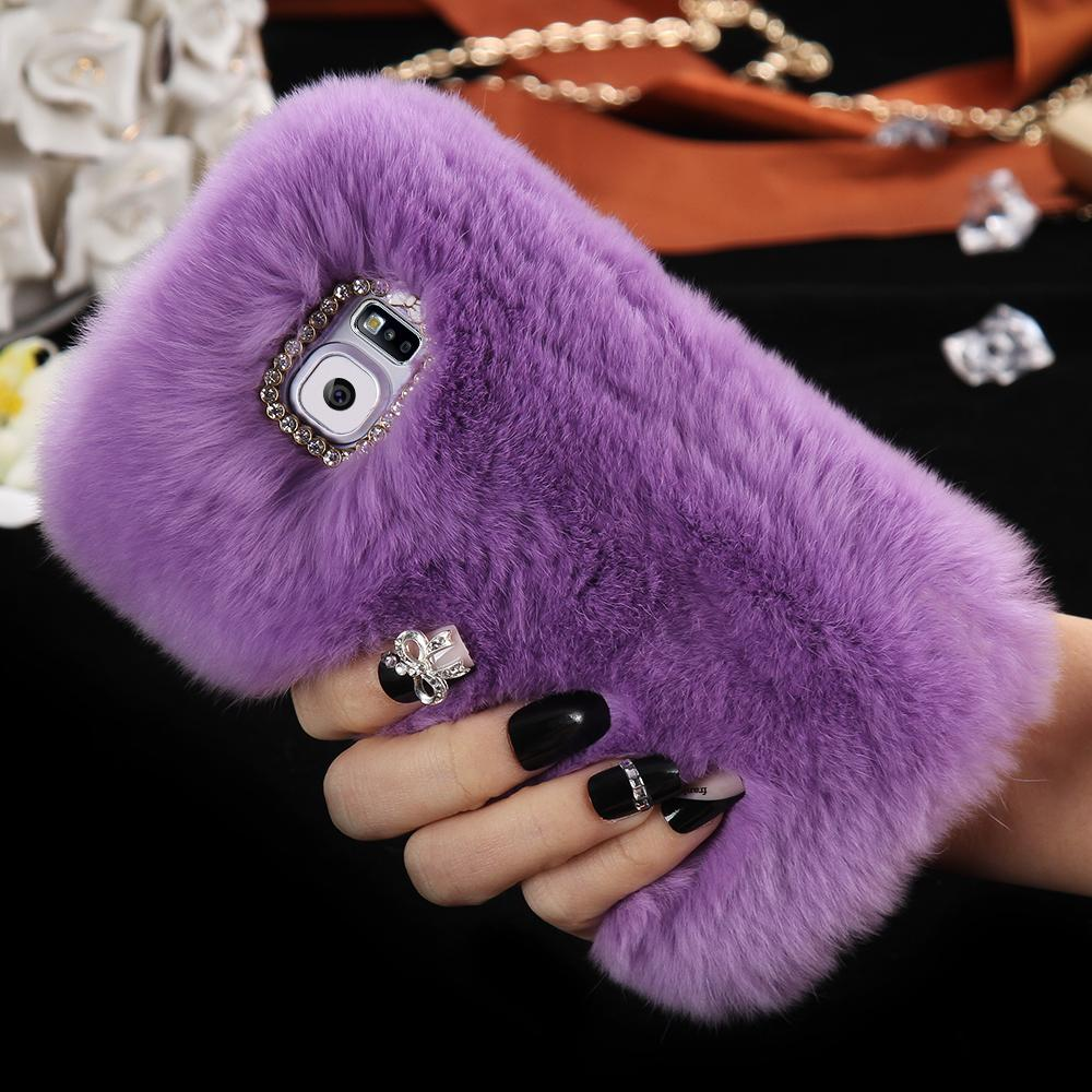 check out 4c410 23ef9 S6 Smooth Soft Touch Rabbit Fur Case For Samsung Galaxy S6 G9200 Luxury  Hard Warm Mobile Phone Cover With Diamond Best Cell Phone Cases Top Rated  Cell ...