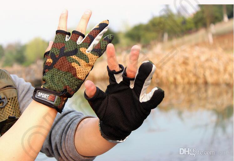 Grid New Durable High Quality Fishing Hunting Gloves Pack 3 Cut Finger Anti Slip Green Camo Camouflage Outdoor Sports Glove Free Size
