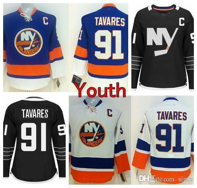 2016 Yeni, Gençlik New York Islanders Hokeyi Jersey 91 John Tavares Jersey Ev Mavi Yeni Alternatif Siyah Çocuklar John Tavares Dikişli C Pat