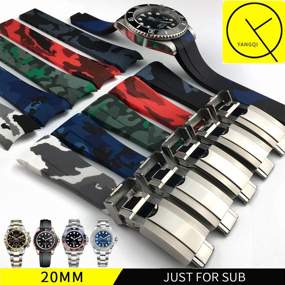 ماء المطاط مربط الساعة الفولاذ المقاوم للصدأ أضعاف إبزيم حزام الشريط لOysterflex SUB سوار ووتش رجل 20MM أسود أزرق + TOOL