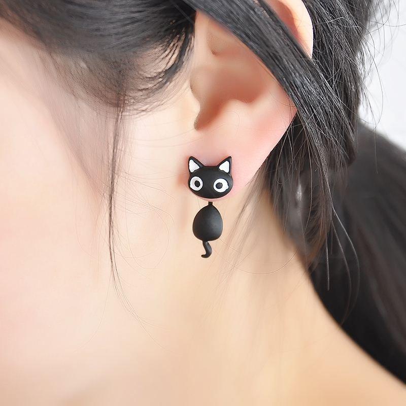Kitten Multiple Colors New Ear Jewelry Cat Stud Earrings Women Trendy Charm 3 D