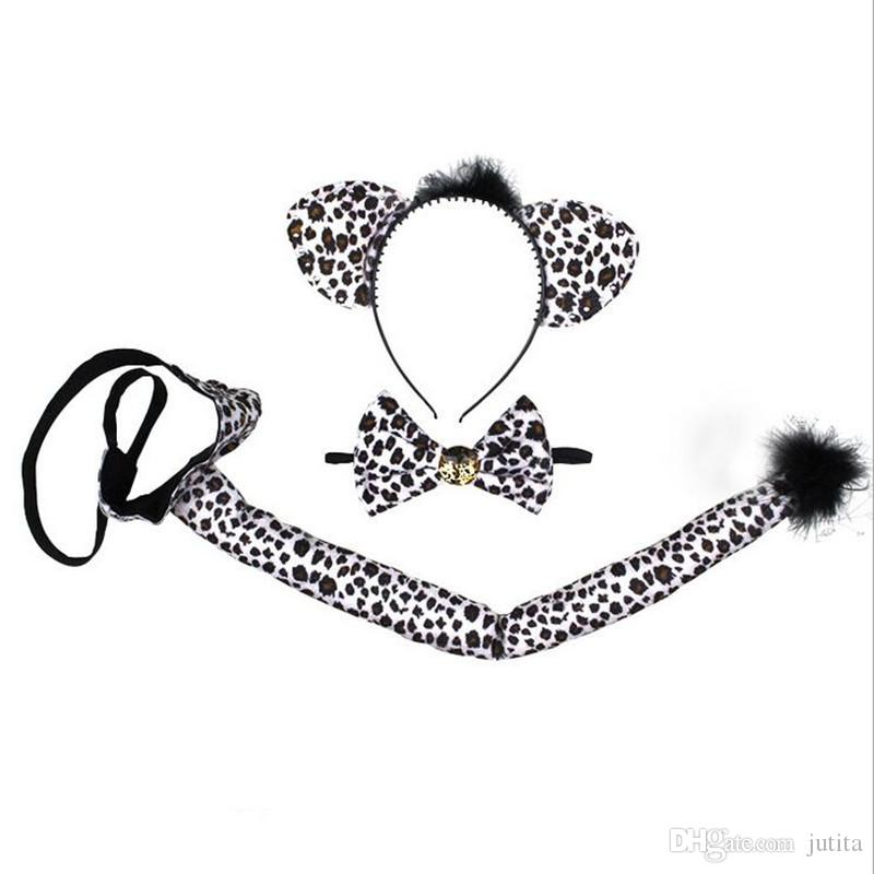 Animal Tiger Leopard Devil Headband Bow Tie Tail 3pcs Set Cosplay Hair Accessories Halloween Party Dress Decor