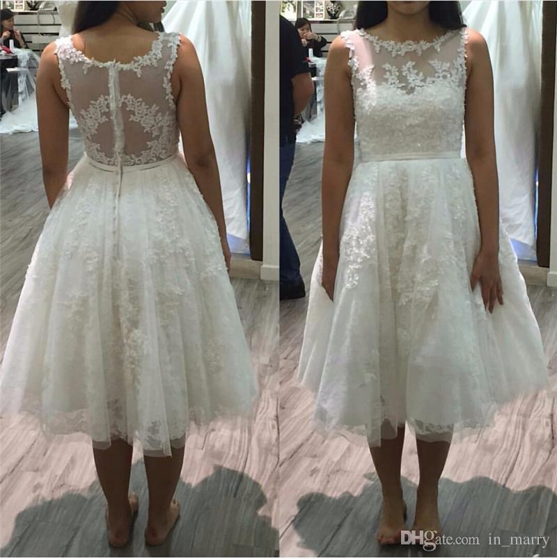 Tea Length Vintage Lace Plus Size Wedding Dresses 2017 A Line Illusion Scoop Beads France Arabic
