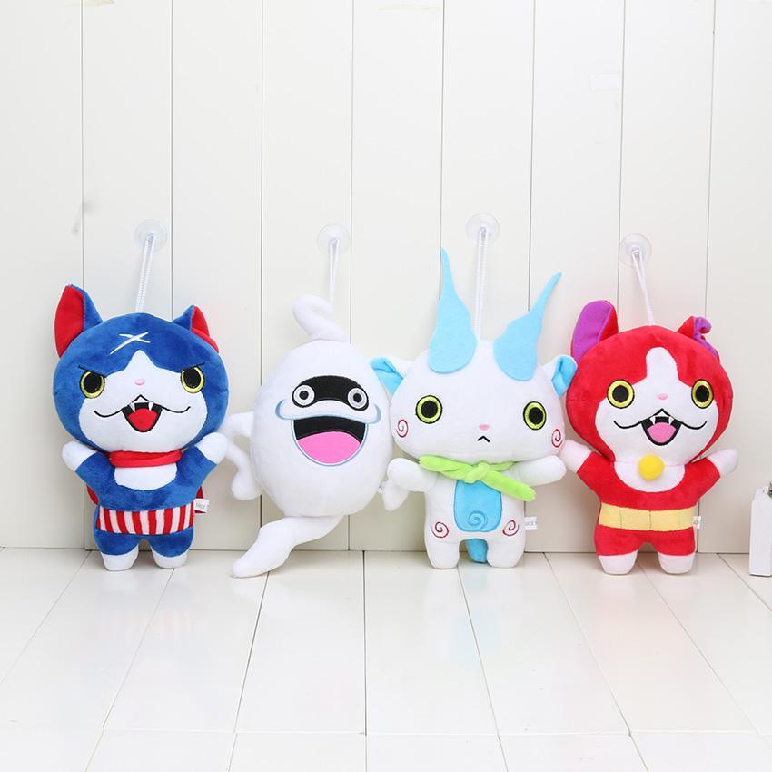 20 cm Yo-Kai Yokai İzle peluş Bebek Jibanyan Komasan ve Fısıltı Youkai Peluş Oyuncaklar Dolması Bebekler ile enayi kolye