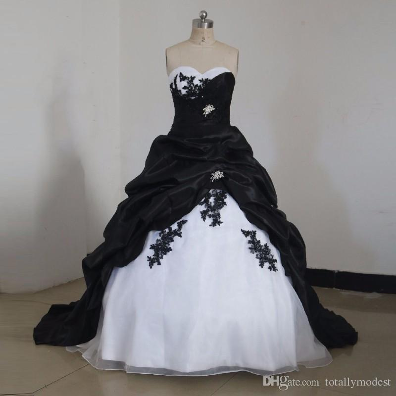 Black And White Gothic Princess Wedding Dresses Ball Gown Vintage  Sweetheart Corset Back Taffeta Colorful Bridal Gowns Custom Made Plus Size  Bridal ...