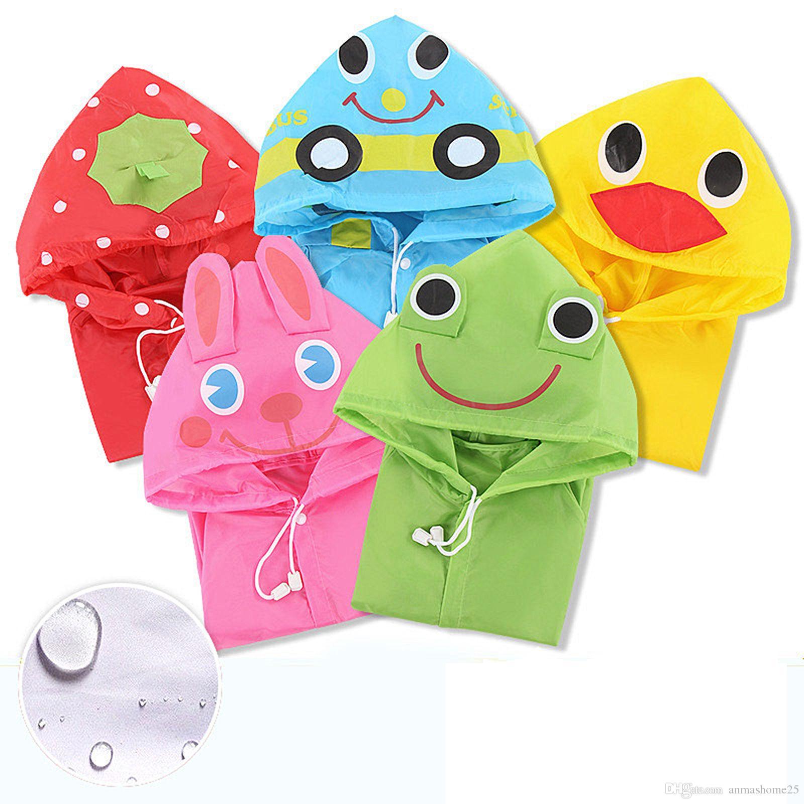 جديد متعدد الألوان المعطف الاطفال الكرتون المعطف مقنع الأطفال للماء المطر لعمر 3-8 سنوات (أطفال 90 سنتيمتر-130 سنتيمتر)