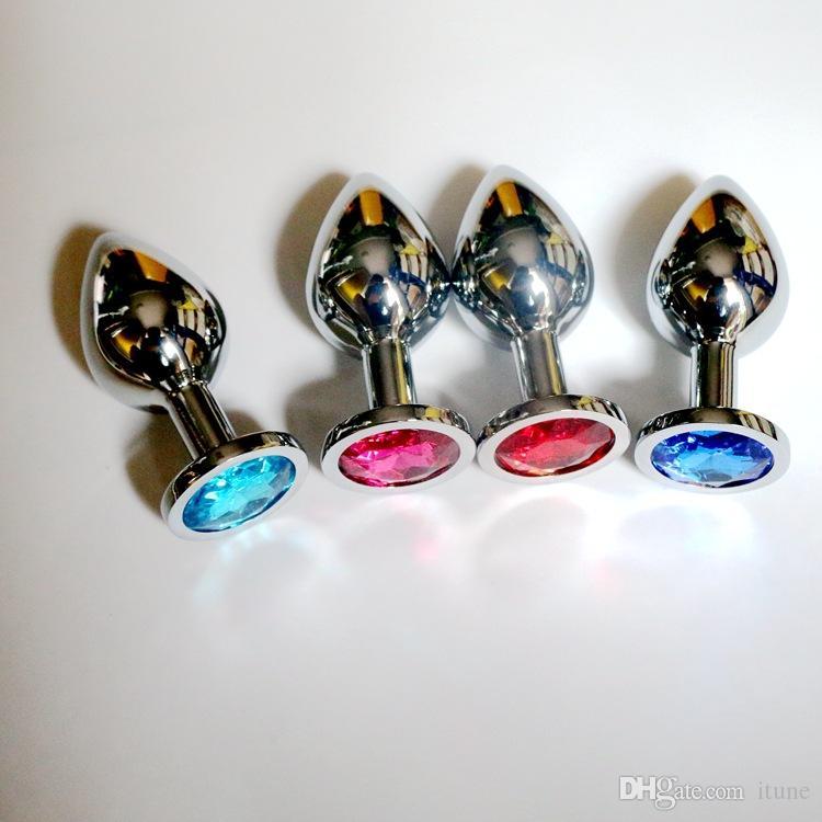 Mittlere Größe 3,4 * 8 cm Edelstahl attraktive Butt Plug Schmuck / Rosebud Jeweled Anal Plugs Sexspielzeug Buttplug hohe Qualität