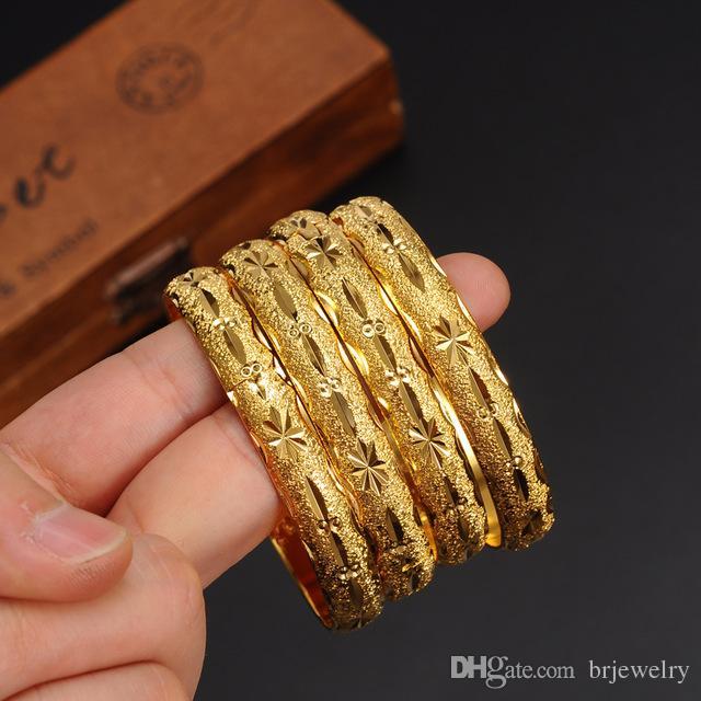 1 pc Newest Women Dubai Bangle 24K Gold Color Bracelet Bangle African/ Arabic/Ethiopian Bride Wedding Jewelry