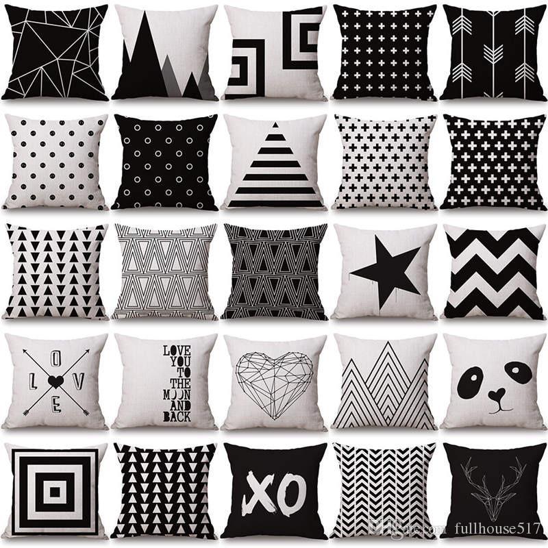 Halloween Christmas Black White Pillowcase Geometry Cushion Covers Cotton  Linen Pillow Cover For Sofa Bed Nordic Throw Pillow Case Pillowcase ...