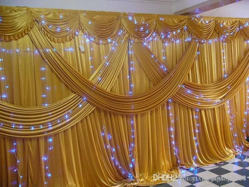 A set 3x6m Luxury Wedding backdrop with multiple gold drape wedding curtain with swag party decoration Free shipping