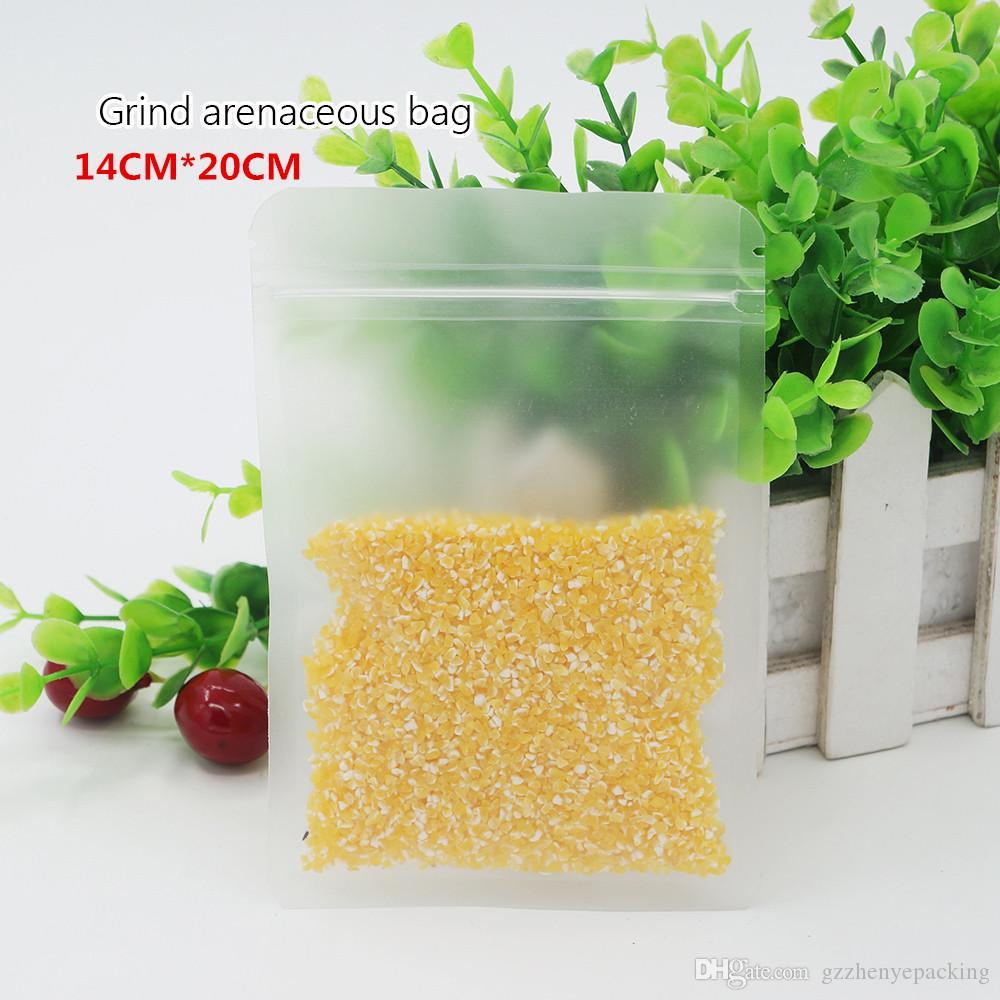 14 * 20cm 서리로 덥은 편평한 뼈 부대 식사 부대 자동 밀봉 비닐 부대 반점 도매 반점 100 / package