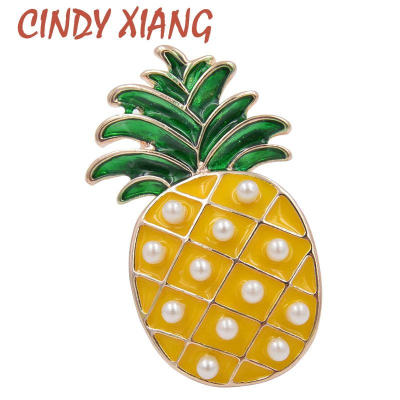 CINDY XIANG Cute Enamel Pineapple Brooches for Women Fashion Fruit Brooch Pin Bijouterie Badages Backpack Jewelry High Quality