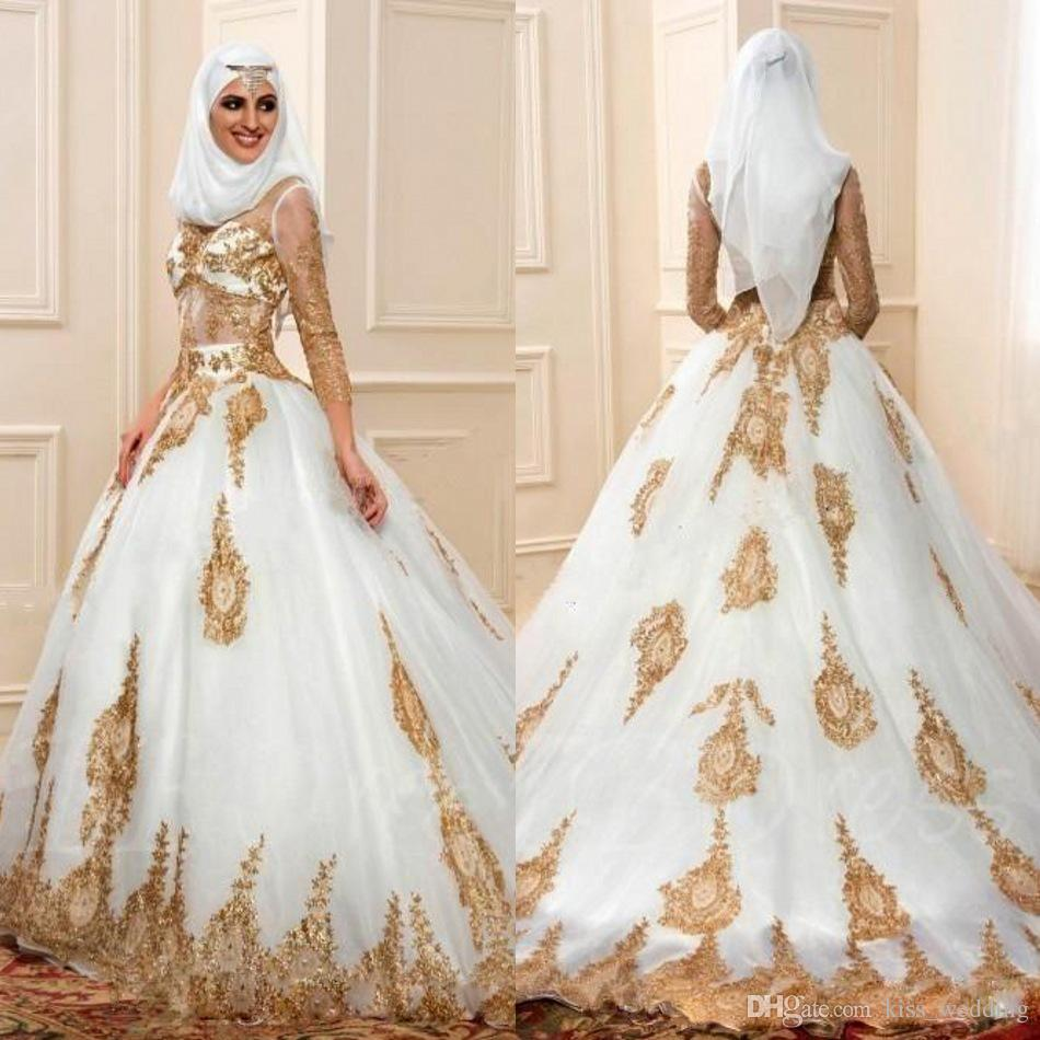 Wedding Gowns With Sleeves.Modern Muslim Wedding Dresses 3 4 Sleeves With Gold Appliques Arabic Bridal Gown Indian Style Engagement Dress Robe De Mariage