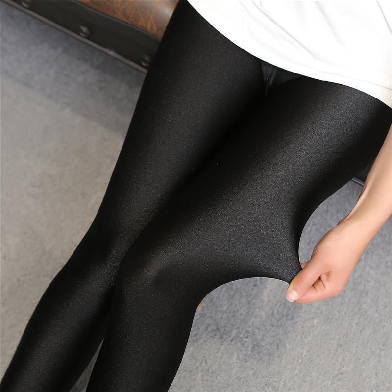 패션 뜨거운 판매 2016 여성 높은 허리 스트레치 스키니 빛나는 9 바지 슬림 맞는 레깅스 여성을위한 q0425