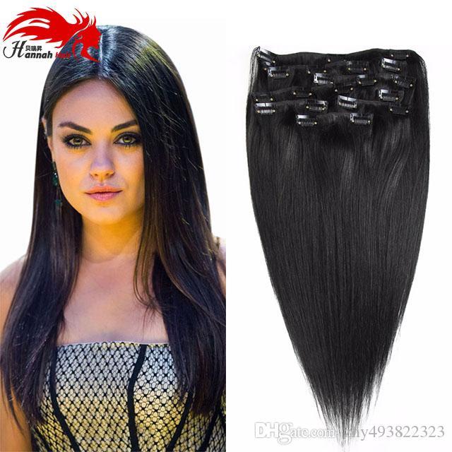 Clip di capelli di Hannah in estensioni dei capelli umani 200g clip di capelli vergini brasiliani a testa piena nelle estensioni della clip di capelli umani nelle estensioni