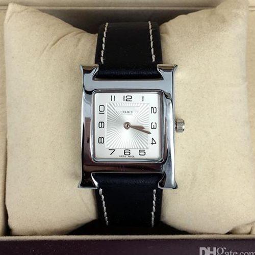 2017 뜨거운 판매 패션 레이디 시계 여성 시계 럭셔리 손목 시계 스테인레스 스틸 블랙 가죽 팔찌 브랜드 여성 시계 무료 배송