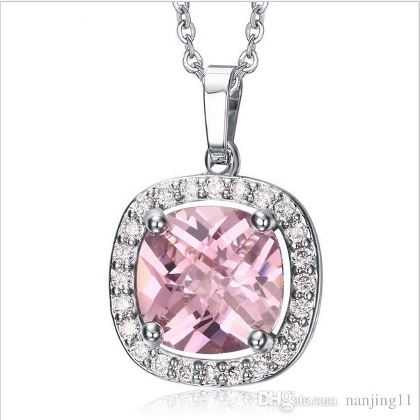 Woman Pink Crystal Cubic Zirconia Pendant Necklaces Gold-Plated Stainless Steel Choker Collier PNB-008