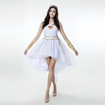 Sexy Greek Goddess Costume Dress White Princess Clothes Irregular Dress Adult Halloween Costumes Women Cosplay Costume
