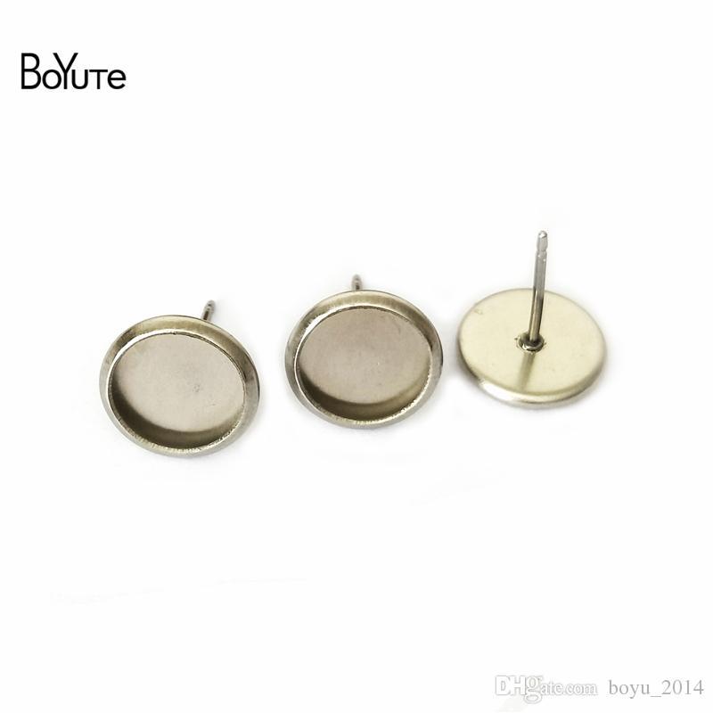 BoYuTe 100 Stücke zu passen 8mm 10mm 12mm 14mm Cabochon Basis Ohrringe Edelstahl Ohrstecker Basis Diy Schmuckzubehör