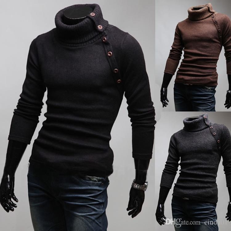 Sim Fit Design Botões Camisolas para Homens Outono Mola Fresco Pullovers Roupas de Desgaste para o Sexo Masculino Turn-down Collar
