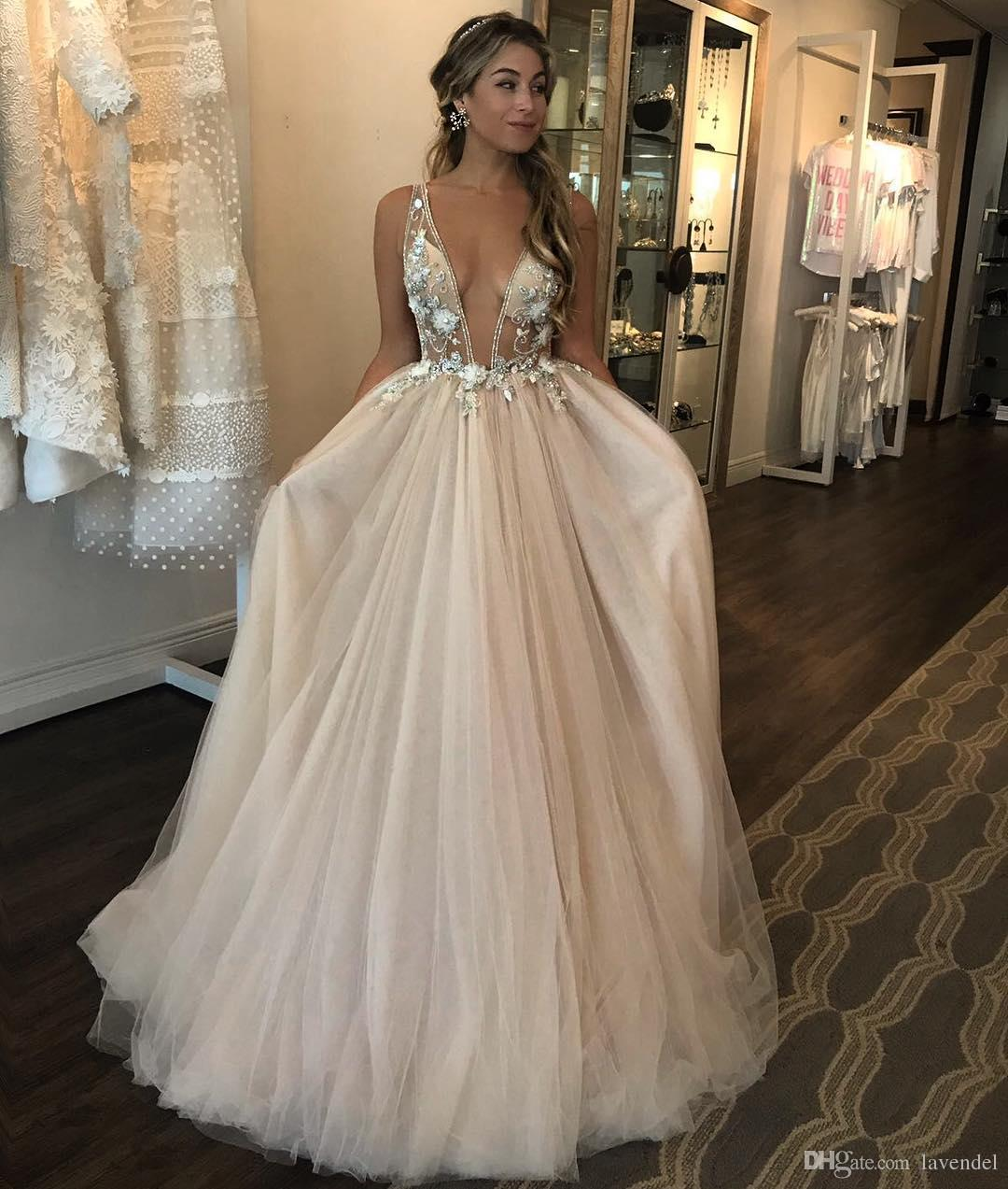 1d00f3e79c1 2018 New Deep V neck Puffy Tulle Wedding Dress 3D Floral Appliques Sheer  Bodice Bridal Gowns