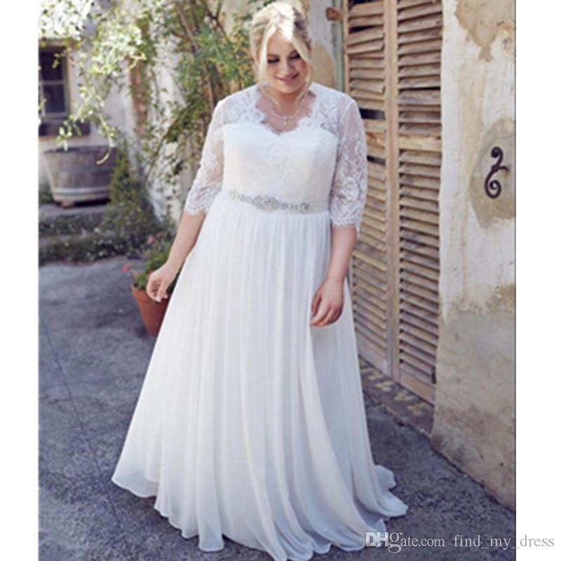 Discount Plus Size Wedding Dresses Chiffon Three Quarter Sleeve Beads A  Line Sweep Train Lace Crystal Sash Bridal Gowns Charming See Through  Elegant ...