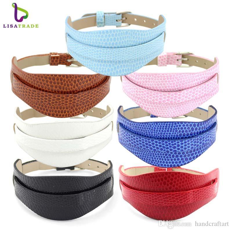 10pcs 18 + 8 millimetri PU Wristband braccialetto di colore della miscela adatti dello scorrevole di 8mm lettere fascini / vetrino LSBR011 * 10