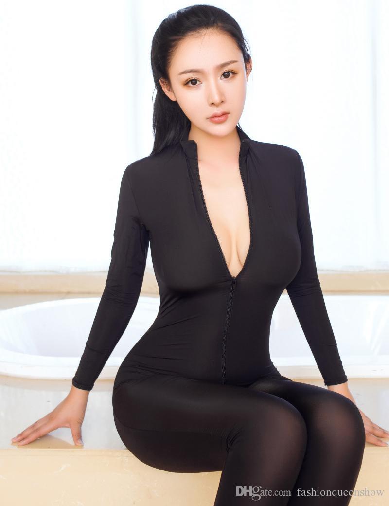 Sexy Lingerie Soft Elastic Bodysuit Women Open Crotch Long Sleeve Jumpsuit Transparent Slim Romper Exotic Catsuit