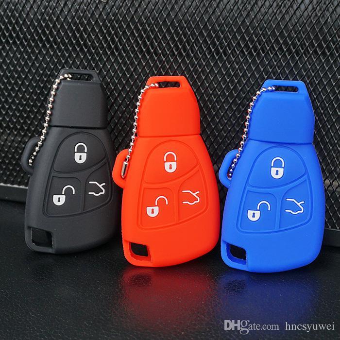 3Button Key Case Rubber For Mercedes Benz B C E CL CLK Keyless Entry Fob Cover