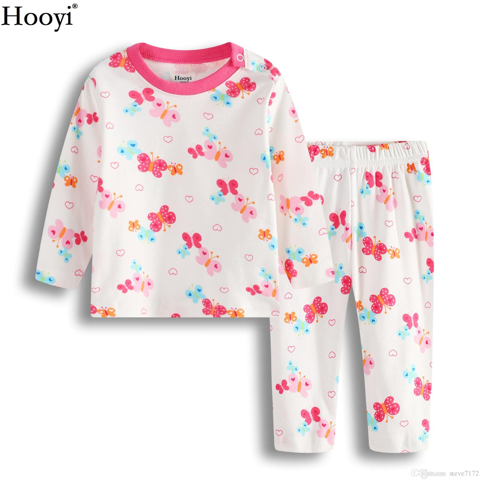 Sweet /& Soft Pink Colorful Butterflies Cotton Pajamas for Infant Toddler Girls