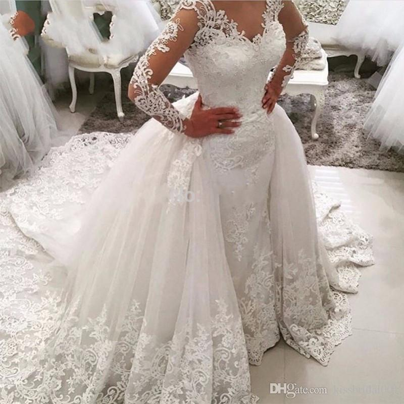 Middle East 2017 Lace Wedding Dresses Mermaid Bridal Gowns Overskirts Berta Luxury